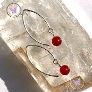 Carnelian Angled Silver Earrings